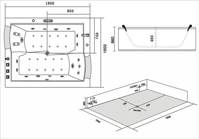 Treg W53 Wanna prostokątna z hydromasażem 180x150 + PODGRZEWACZ WODY !