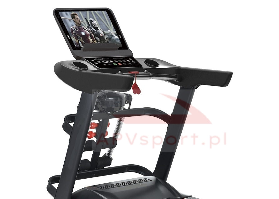 Bieżnia do biegania i chodzenia APV586, ekran TFT 15.6 cala, masażer, hantle, brzuszki, pas biegowy 145x58cm