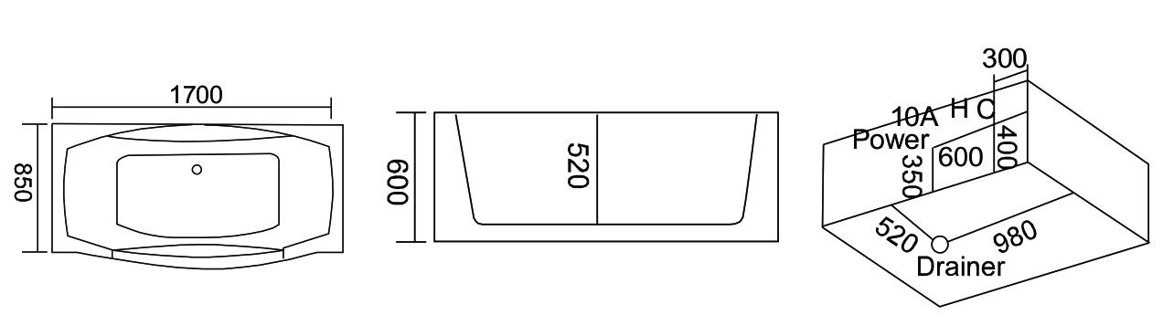 Treg W80 Wanna prostokątna z hydromasażem 170×85 + PODGRZEWACZ WODY! (Kopia)