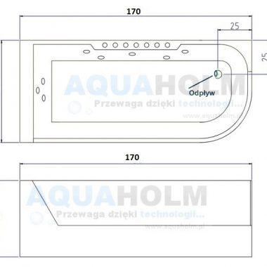 Aquaholm CLF-3132 150cm x 75cm x 59cm wersja LEWA + RAMA NA SZYBIE