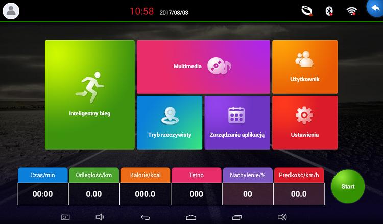 APVsport Bieżnia elektryczna do biegania i chodzenia APV8000, ekran TFT ANDROID 10.1 cala, dodatkowe wyposażenie PROMOCJA! - masażer, hantle, brzuszki, mata, pas biegowy 145x58cm d